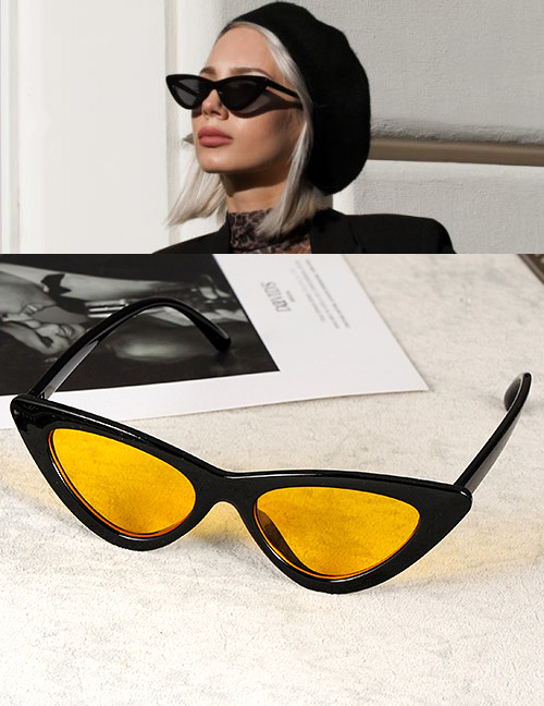 Fashion Yellow Cat Eye Shape Decorated Sunglasses