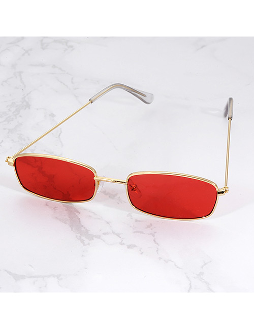 Fashion Red Square Shape Decorated Sunglasses