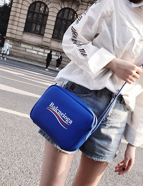 Fashion Sapphire Blue Lettern Pattern Decorated Shoulder Bag ( Big Size )