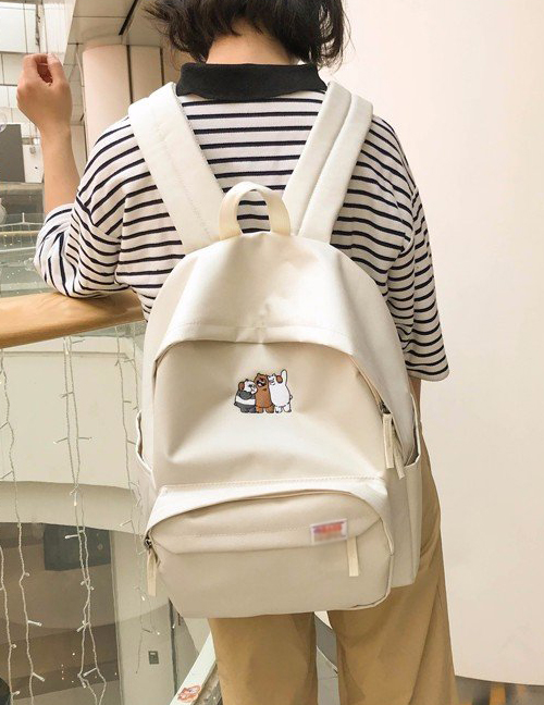 Fashion White Bear Pattern Decorated Backpack