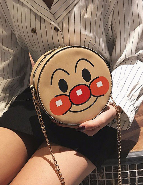 Fashion Khaki Round Shape Decorated Shoulder Bag