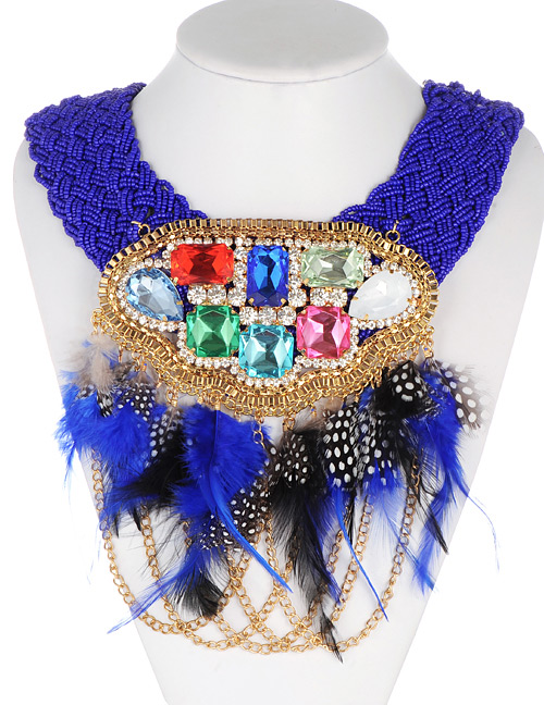 Fashion Sapphire Blue Feather Decorated Necklace