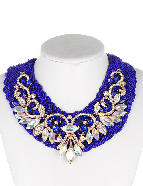 Fashion Sapphire Blue Oval Shape Decorated Necklace