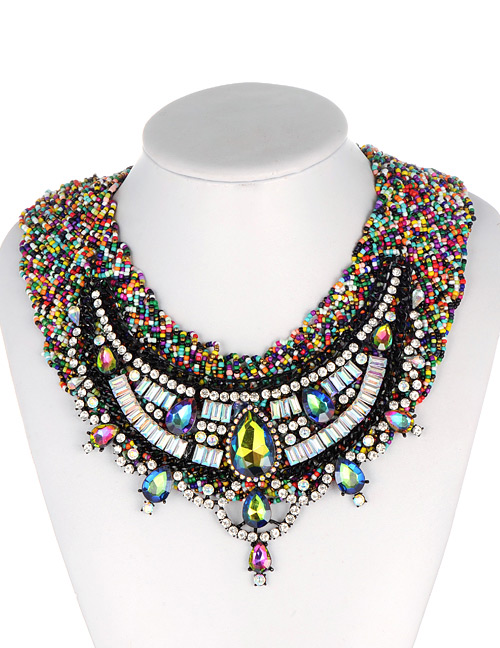 Fashion Multi-color Water Drop Decorated Necklace