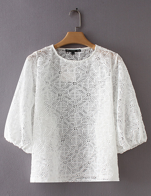 Fashion White Hollow Out Design Pure Color Blouse