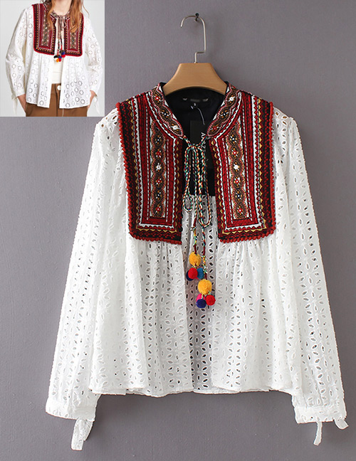 Fashion White Hollow Out Design Long Sleeves Coat