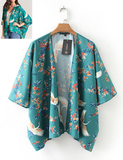 Fashion Green Flowers&crane Pattern Decorated Blouse