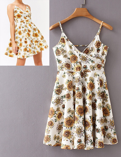 Fashion White Flowers Pattern Decorated Suspender Dress