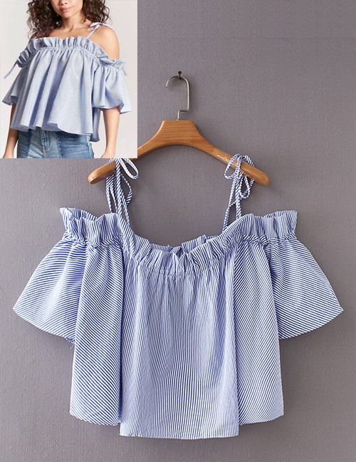 Fashion Blue Stripe Pattern Decorated Suspender Shirt