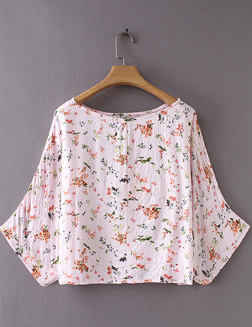 Fashion Pink Flowers Pattern Decorated Simple Blouse
