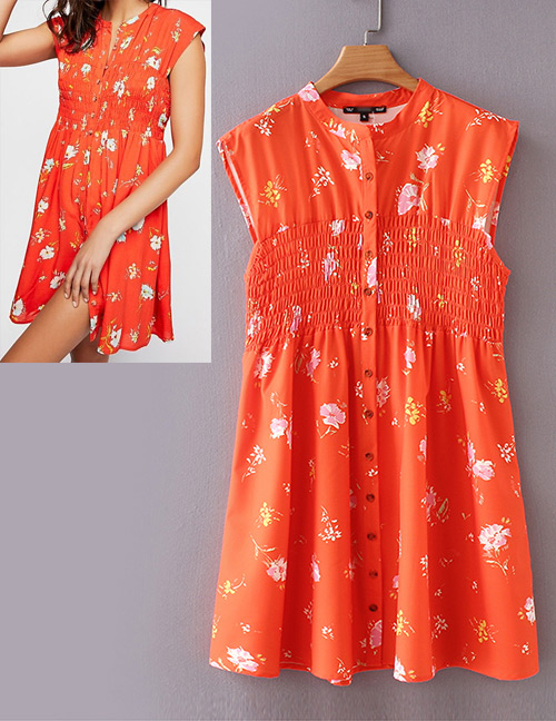 Fashion Orange Flowers Pattern Decorated Sleeveless Dress