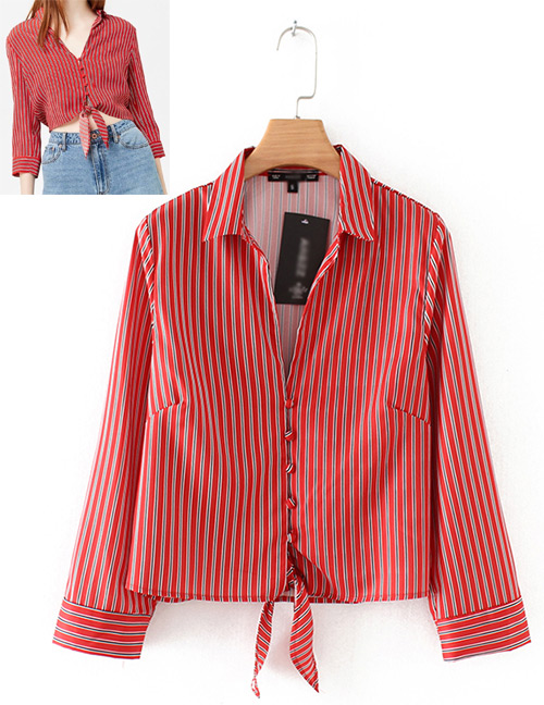 Fashion Red Stripe Pattern Decorated Long Sleeves Shirt
