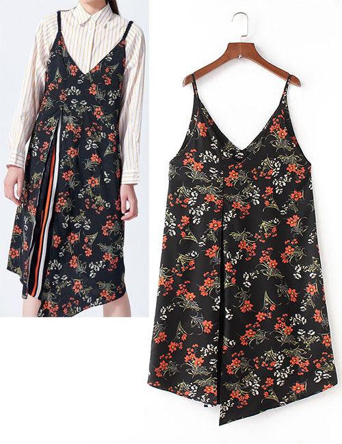Fashion Black Flowers Pattern Decorated Suspender Dress