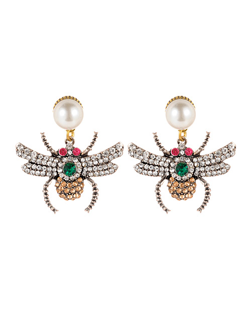 Fashion Champagne Spider Shape Design Simple Earrings