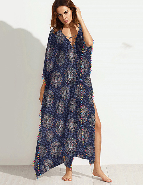 Fashion Navy Flower Pattern Decorated Larger Size Long Dress