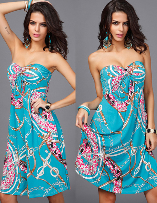 Fashion Blue Flowers Decorated Strapless Long Dress
