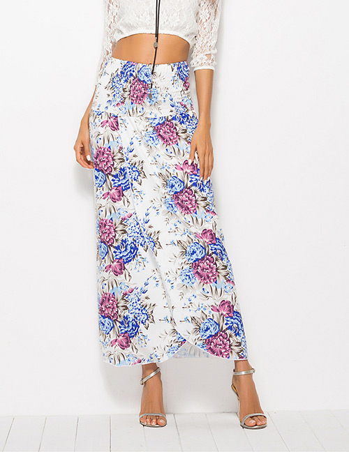 Fashion Apricot Flower Pattern Decorated Simple Skirt