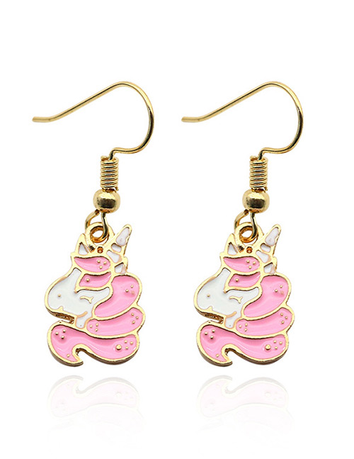 Fashion Pink Unicorn Decorated Simple Earrings