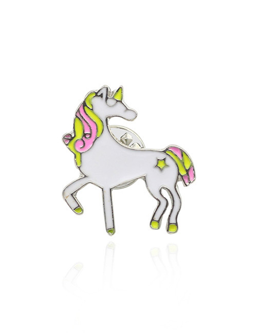 Fashion White+pink Unicorn Shape Design Simple Brooch