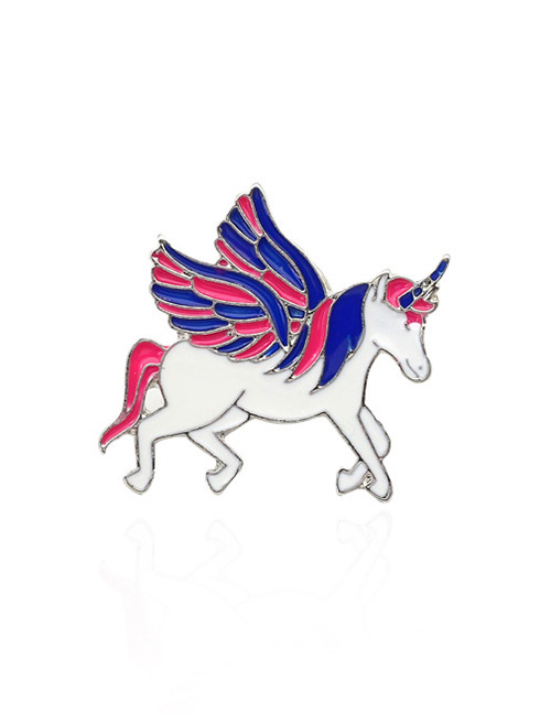 Fashion White+red Unicorn Shape Design Simple Brooch