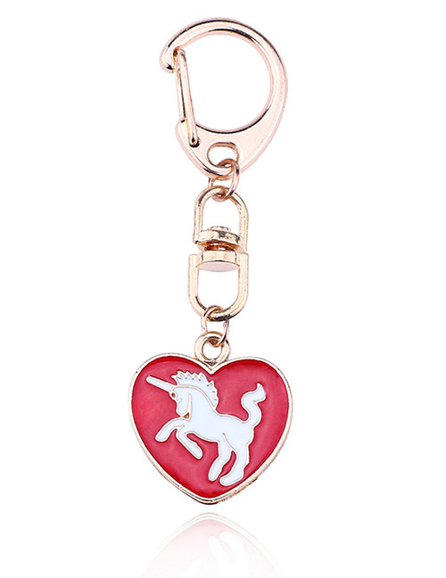 Fashion White+red Unicorn Shape Decorated Key Chain