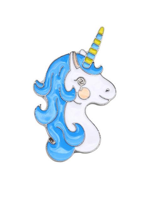 Fashion White+blue Cartoon Unicorn Design Simple Brooch