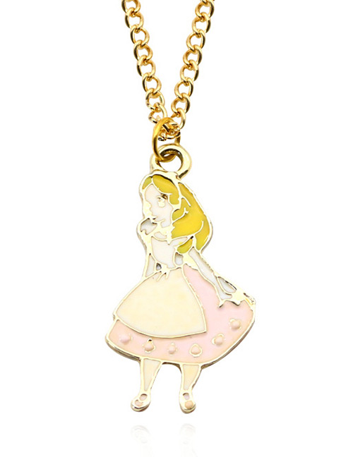 Fashion Pink Girl Pendant Decorated Necklace