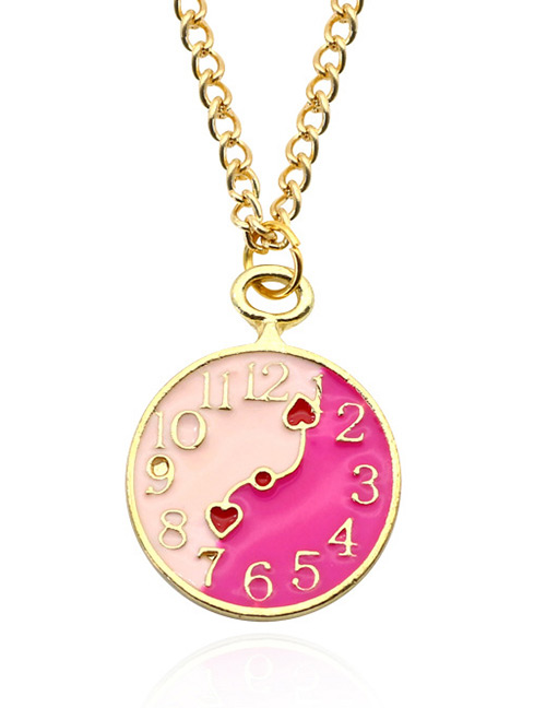 Fashion Pink Clock Pendant Decorated Necklace