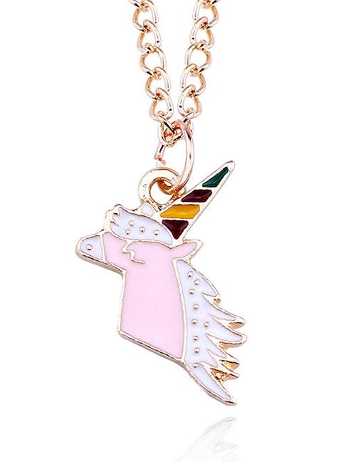 Fashion Pink Cartoon Unicorn Pendant Decorated Necklace