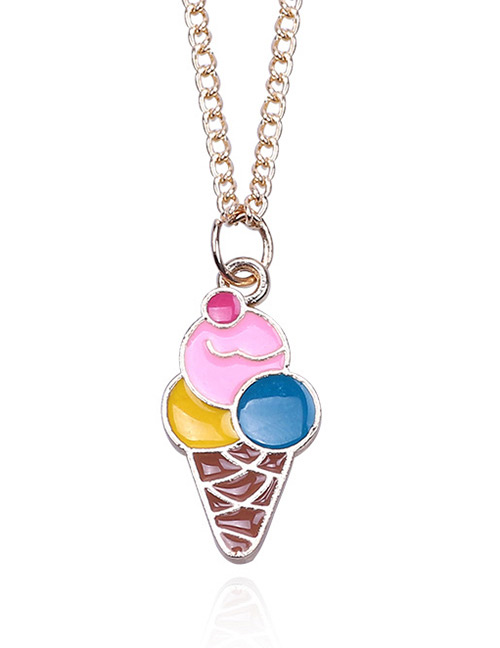 Fashion Pink+yellow Ice Cream Shape Decorated Necklace