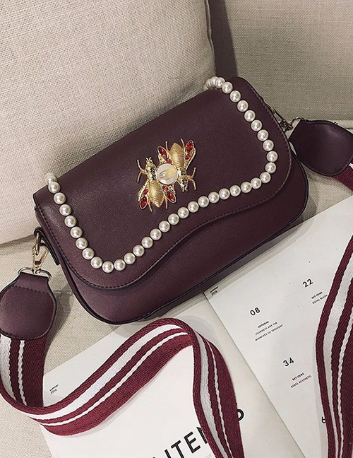Fashion Dark Claret Red Pearls&diamond Decorated Square Shape Bag