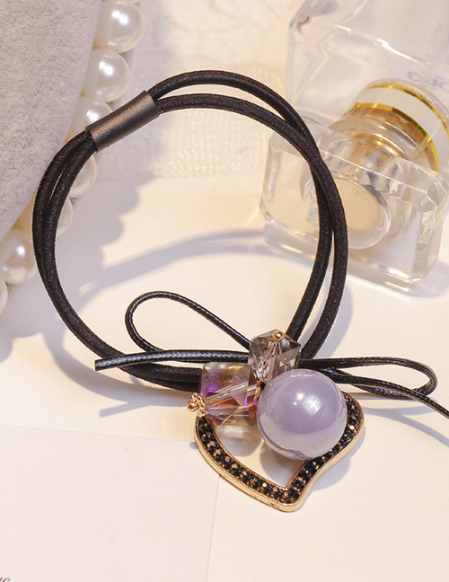 Lovely Gray Heart Shape Decorated Double Layer Hair Band