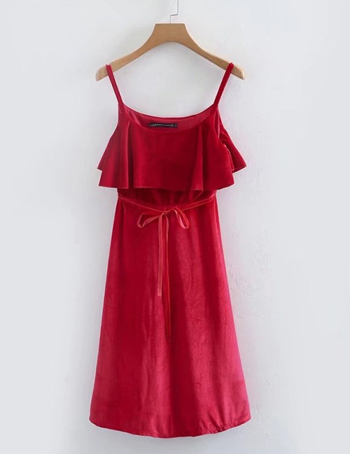 Fashion Red Pure Color Decorated Suspender Dress