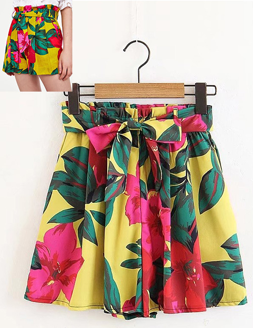 Fashion Red+yellow Flowers Pattern Decorated Simple Shorts