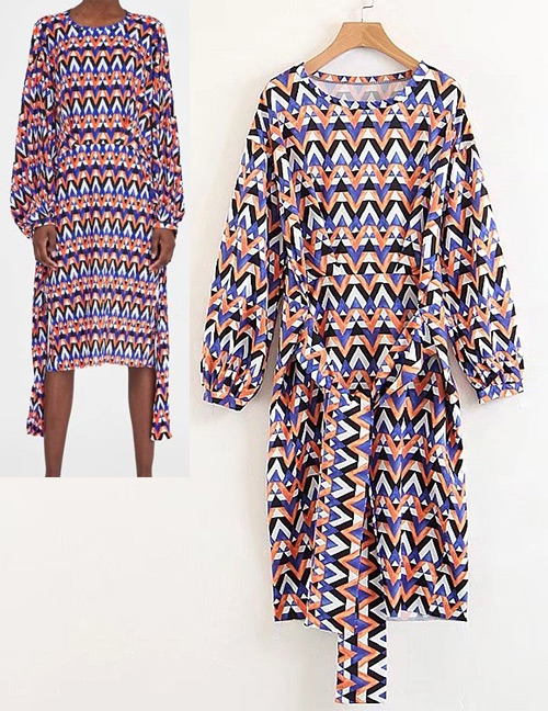 Fashion Multi-color Wave Pattern Decorated Long Sleeves Dress