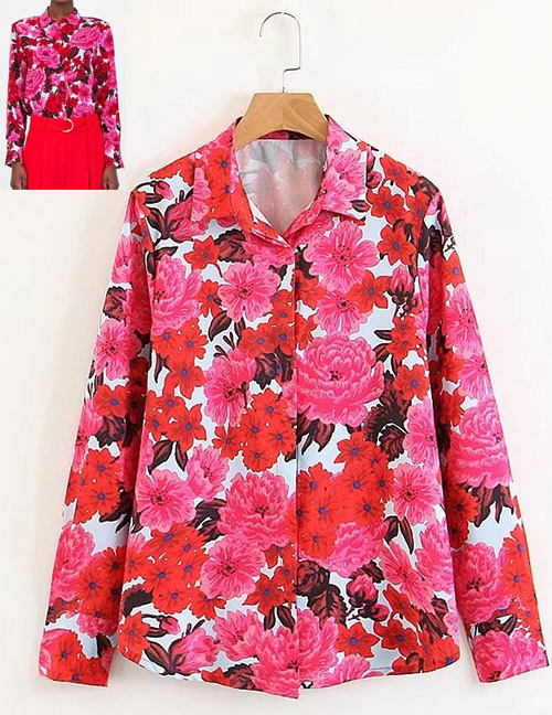 Fashion Plum Red Flowers Pattern Decorated Long Sleeves Shirt