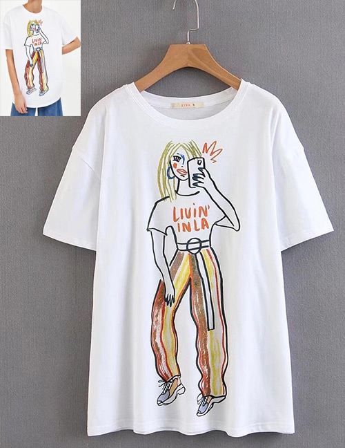 Fashion White Girl Pattern Decorated Simple Shirt