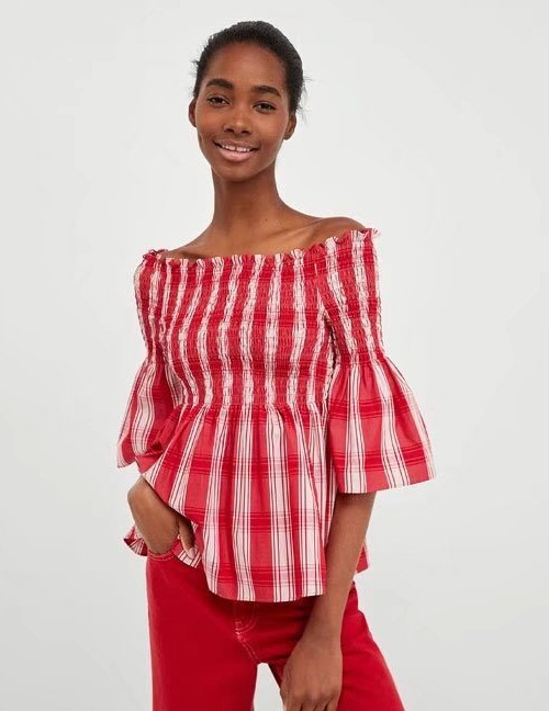 Fashion Red Stripe Pattern Decorated Simple Blouse