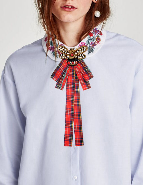 Fashion Red Insect Shape Decorated Bowknot Brooch