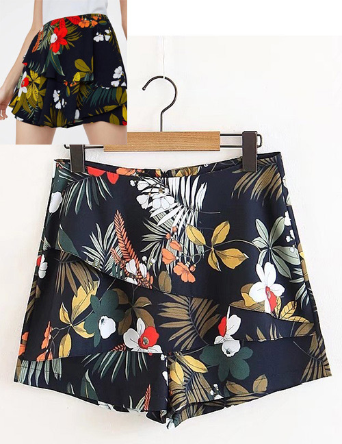 Fashion Multi-color Leaf&flowers Decorated Simple Shorts