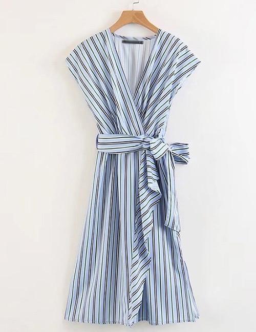 Fashion Light Blue Stripe Pattern Decorated V Neckline Dress