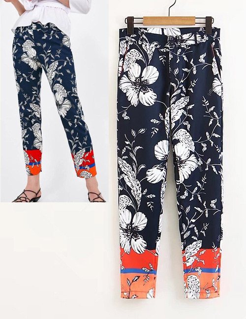 Fashion Black+orange Flower Pattern Decorated Leisure Pants