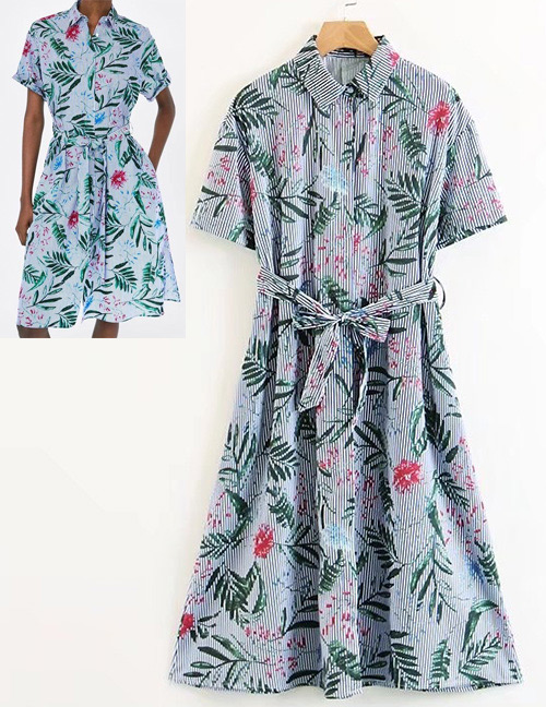 Fashion Blue Flower Pattern Decorated Short Sleeves Dress