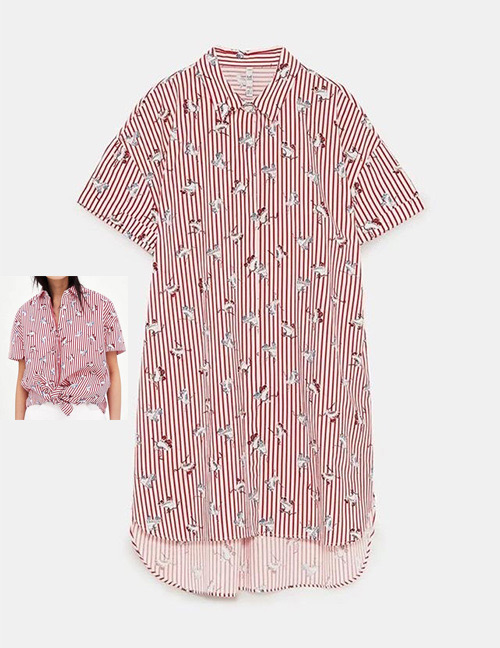 Fashion Red Stripe Pattern Decorated Simple Shirt