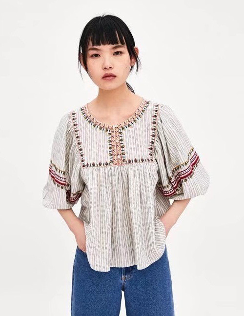 Fashion Light Coffee Embroidery Design Short Sleeves Blouse