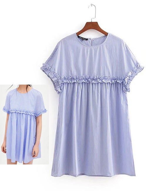 Fashion Light Blue Stripe Pattern Decorated Round Neckline Dress