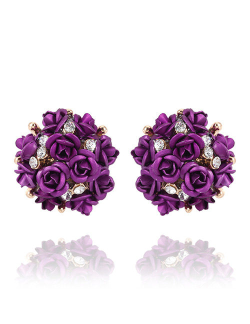 Elegant Purple Rose Shape Decorated Simple Earrings