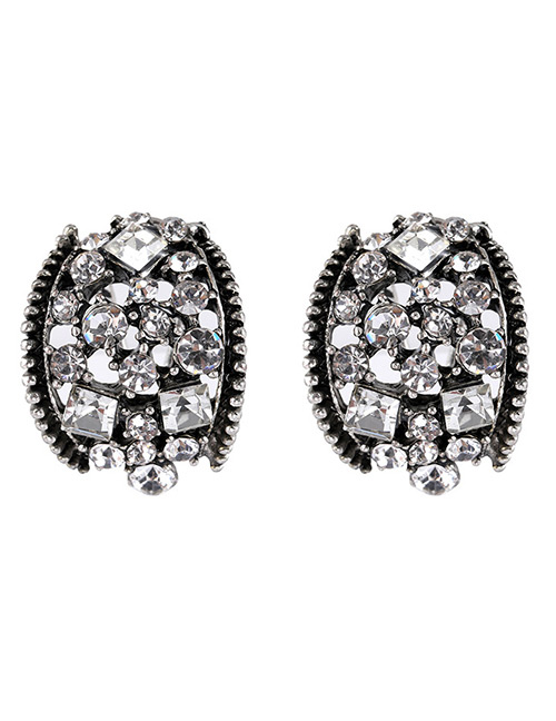 Elegant White Diamond Decorated Hollow Out Earrings