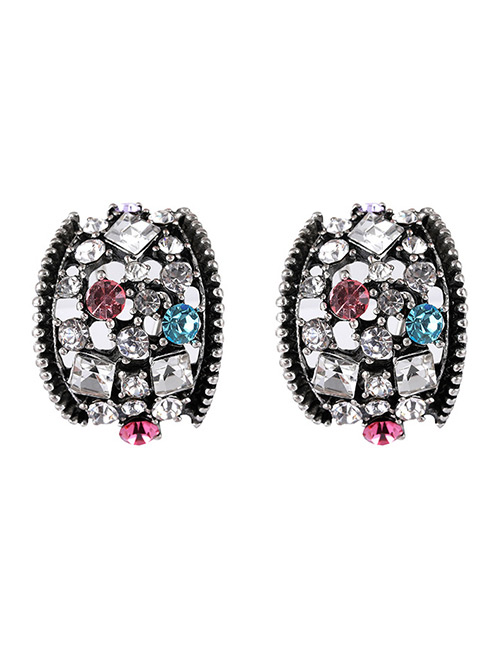 Elegant Multi-color Diamond Decorated Hollow Out Earrings