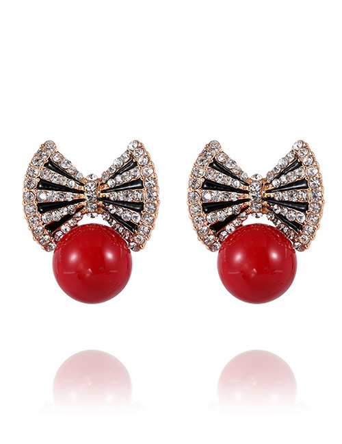 Elegant Red Pearls Decorated Bowknot Shape Earrings